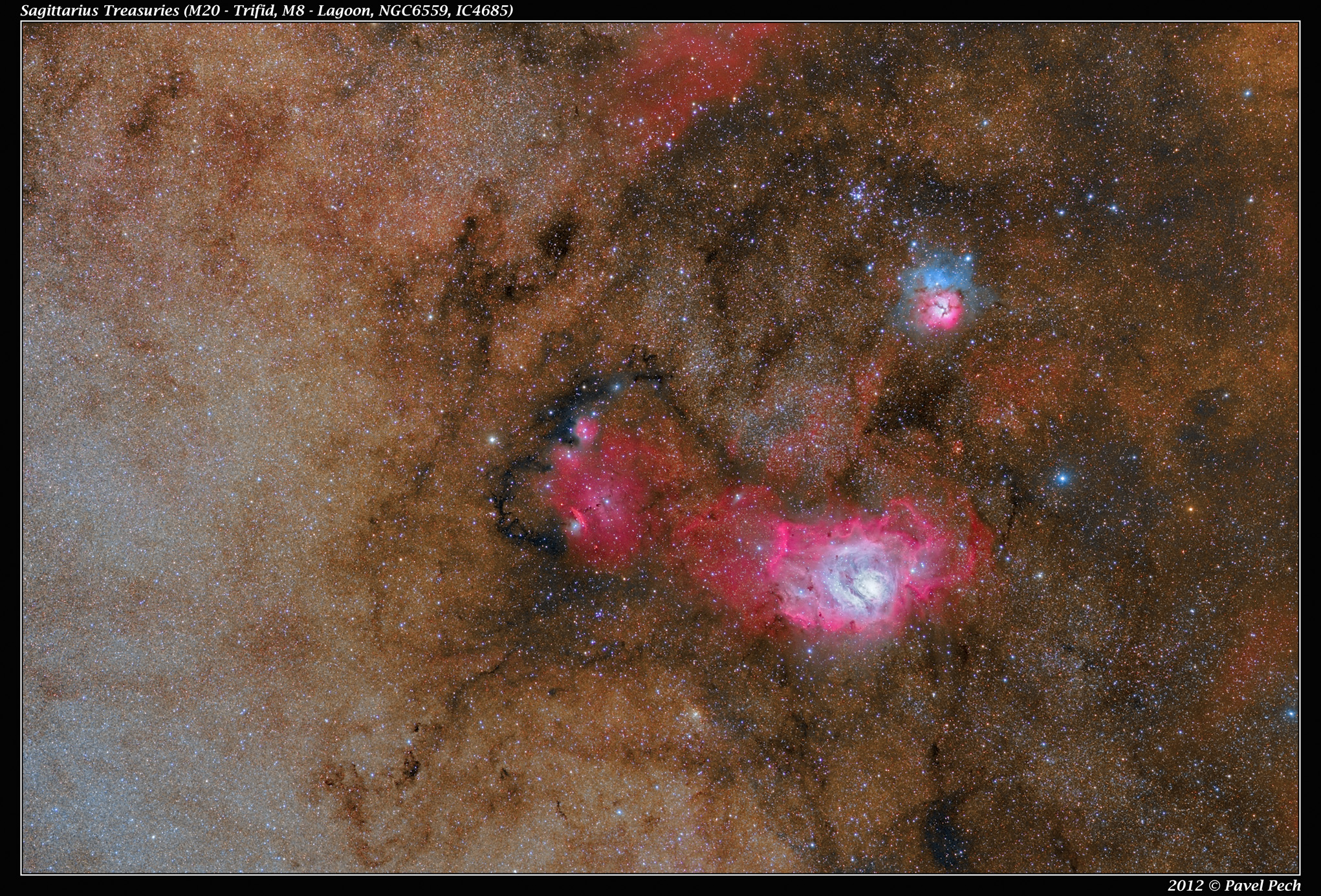 Sagittarius Treasuries (M20, M8, NGC6559, IC4685) sLRGBHa